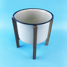 Time Concept Provence Ceramic Round Plant Pot with Wood Stand - Grey #No3042