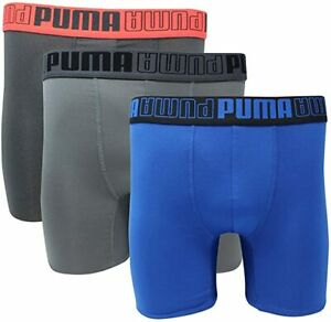 NEW Puma Performance Men's 3 Pack Boxer Brief athletic fit Coolcell black/gray