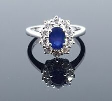 18ct White Gold Diamond and Sapphire Ring. New