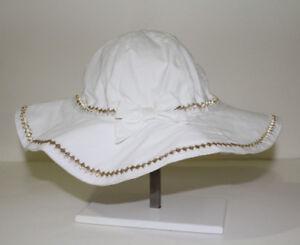 Gymboree Girl's Gold Sparkle Diamond White Floppy Beach Sun Hat NWT Size SMALL