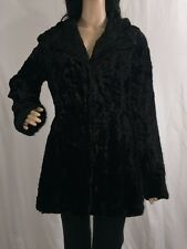 Kaity Faux Fur Jacket Small Solid Black Swirl Tuft Sexy Peacoat Vintage Glamour