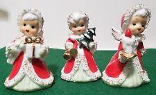 3 VINTAGE LEFTON CERAMIC ANGEL BELLS