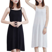 KQ_ Plus Size Summer Women Solid Color Loose Sleeveless Camisole Underdress Film