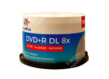 50-pk AcePlus Double Layer DVD+R - Dual Layer, 8X 8.5 GB 240 mins, Silver Matte