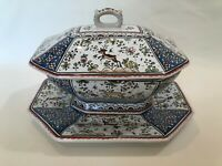 Vintage Conimbriga Portugal Hand Painted Large Covered Tureen w/Underplate