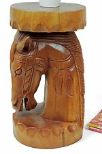 """Wooden 20"""" Horse plant lamp stand side end table stool hand carved Acacia wood"""