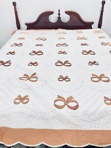 "Antique Vintage Handmade Quilt Signed Brown Bows 85""  X 69"""