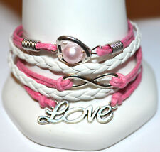Love Heart Infinity Bracelet Pink Leather 18-23cm Free Gift Bag New