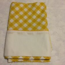 Vtg.70S RETRO bed sheet flat TWIN gold diagonal plaid check groovy 66X 104""