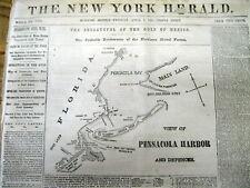 <1861 CIVIL WAR newspaper w front page MAP PENSICOLA HARBOR Florida FORT PICKENS