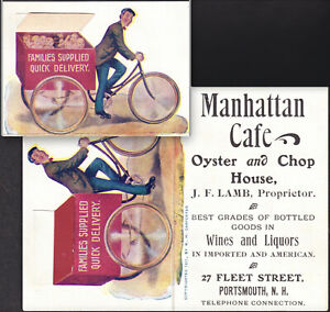 Oyster Chop House Portsmouth NH Bottle Goods Baby Delivery Bike c1901 Trade Card