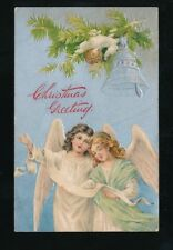 Greetings XMAS Christmas child angels embossed used 1905 PPC