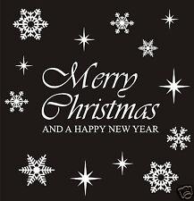 MERRY CHRISTMAS REUSABLE WINDOW STICKER DECORATIONS & 29 SNOWFLAKE & STARS