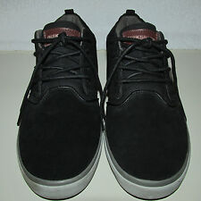 Quiksilver Griffin Black/Gray Suede Leather/Canvas Mid-Top Casual Shoes, SZ 11.5