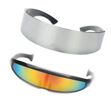 2pcs Fashion Narrow Rainbow metallizzato Argento Cyber Robot Alien Eye