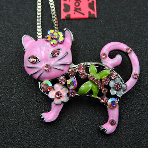 Betsey Johnson Shiny Pink Enamel Crystal Cute Cat Pendant Sweater Chain Necklace