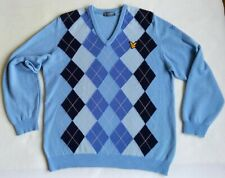ORIGINAL SCOTLAND Lyle and Scott Argyle Blue 100% Pure Wool Jumper Pullover M