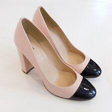 J Crew $250 Lena Leather Pumps Patent Cap Toe 7.5 Faded Blush Heels Shoes f5587
