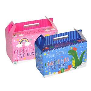 Christmas Eve Gift Treat Box Personalised Rectangle Festive Design Blue Pink