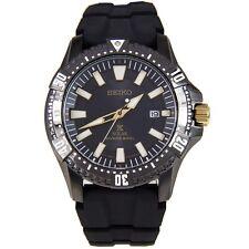 Seiko SNE373 Solar Prospex Diver Black Dial Black Ruber Band Mens Watch