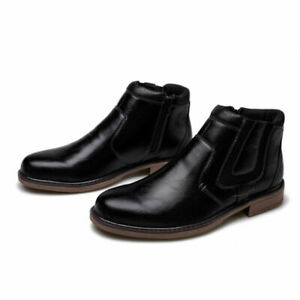 Men Retro Chelsea Zip Cowboy Casual Motorcycle Shoes Ankle Boots High Top Boots