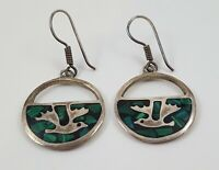 Vintage TAXCO Mexico 925 Sterling Silver Malachite Inlay Earrings
