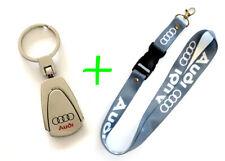AUDI Keychain TearDrop Silver Metal & Gray Lanyard ID Badge Cardholder Bundle