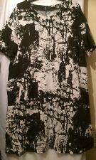 UK Womens Ladies Graphic Tunic Cotton Dress Size 22 Short Sleeves Knee Length