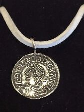 "Aethelred II Coin WC3 Made From English Pewter On 18"" White Cord Necklace"