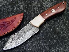 "Custom Handmade Damascus Steel Blade 8.0"" Natural WOOD - Hunting Knife WD-8798"