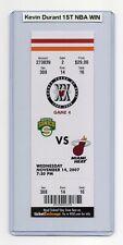 Kevin Durant 1ST NBA WIN 2007 Sonics Heat DEBUT 11/14 Full Ticket MINT RARE!!!