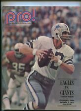 Pro Football Oct. 2, 1972 Offical Magazine Eagles Vs Giants Roger Staubach MBX97