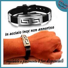 bracciale braccialetto uomo nero in silicone gomma da regolabile acciaio inox