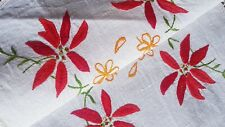 Stunni Christmas Red Poinsettias Vintage Hand Embroidered Centrepiece  w DAISIES