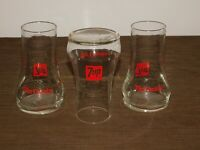 "VINTAGE KITCHEN BAR 3  6"" HIGH SEVEN UP SODA UNCOLA GLASSES UNUSED NEW NOS"