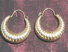 Puffy Huggie 15 mm Hoop Earrings Quality 14K Gf Perfect Hand Crafted Shrimp