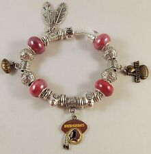 CHIC GLASS BEADS Official NFL WASHINGTON REDSKINS Silver Football Charm Bracelet