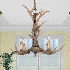 American Country Vintage Resin Deer Horn Antler Chandelier Light Ceiling Lamp