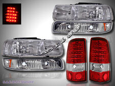 99-02 SILVERADO CLEAR HEADLIGHTS / BUMPER SIGNAL LIGHTS/ LED TAIL LIGHTS RED