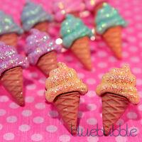 FUNKY GLITTER SPARKLE ICE CREAM EARRINGS SWEET CUTE KITSCH RETRO KAWAII EMO POP