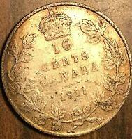 1911 CANADA SILVER 10 CENTS COIN