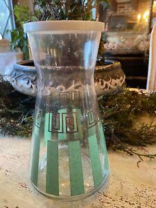 Mid-Century Modern Design Striped Juice Carafe Jar Container Glass  w/ Lid