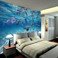 Underwater Murals 3D Wallpaper World Blue Ocean Fishes Bedroom Wall Covering
