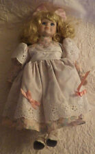 "Girl Doll in Floral Dress Flowers Blonde Blue Eyes Porcelain 15"" Tall"