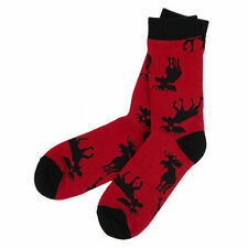 Hatley Crew Socks WOMENS Medium 9-11 MOOSE On RED
