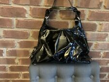COACH Mia Grey MAGGIE Pleated Patent Leather Med Hobo Shoulder Purse Bag 15734