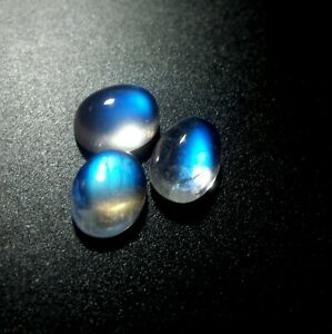 8x6 MM Natural Blue Sheen Rainbow Moonstone Oval Shape Cabochon 3 Piece