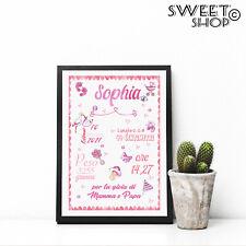 Quadretto Nascita Cornice Personalizzato BAMBINA ROSA canvas forex poster tela