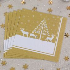 20 Christmas Paper Napkins Serviettes Xmas Gold White 3 Ply Winter Wonderland