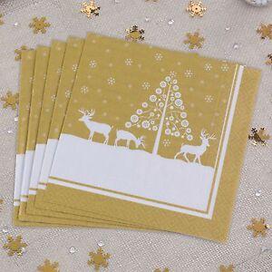STAG DESIGN - GOLD CHRISTMAS NAPKINS x 20 - Christmas Table / Party